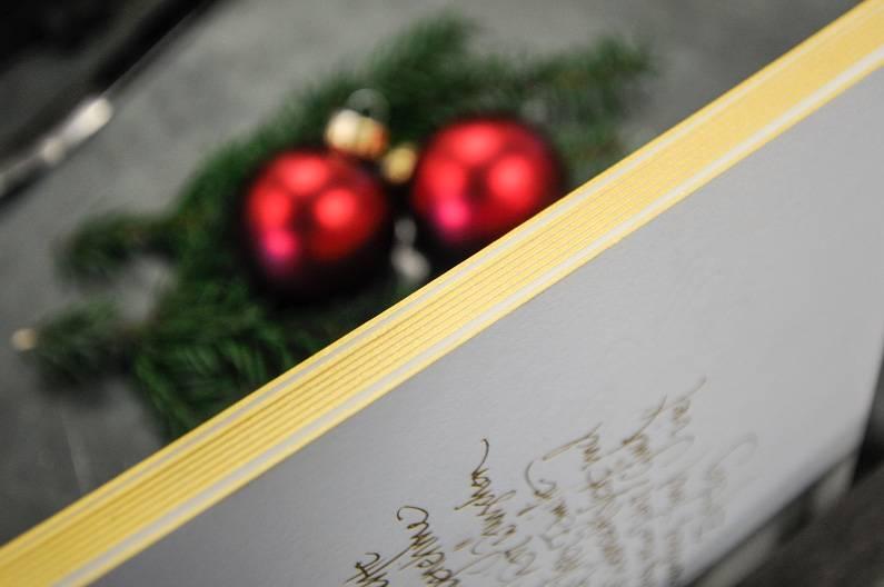 Farbschnitt Wolf Manufaktur Weihnachtskarte