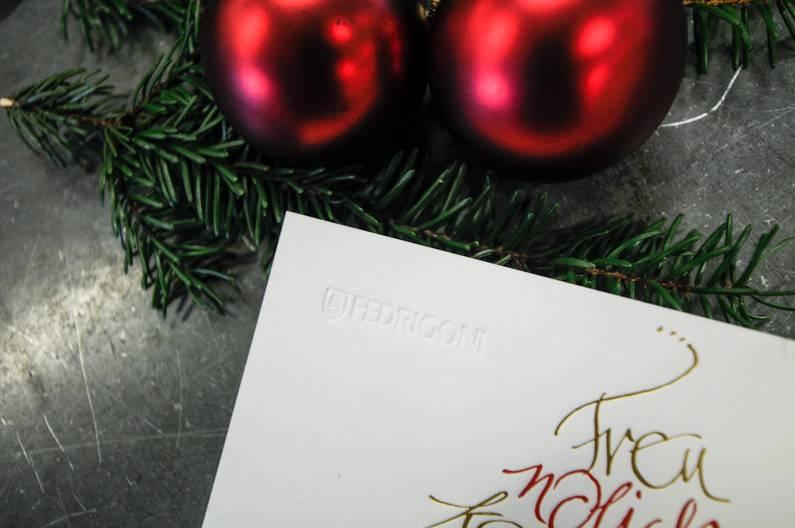 Blindprägung Weihnachtskarte Wolf Manufaktur