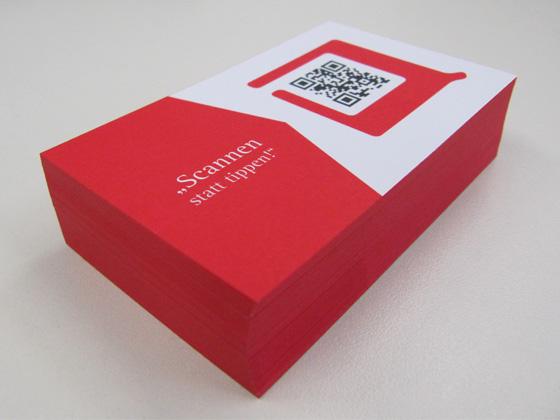 Visitenkarten inklusive QR-Code und Farbschnitt