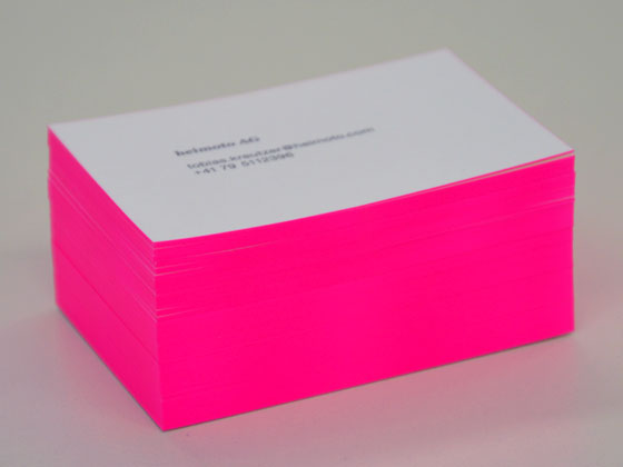 Visitenkarten, veredelt mit einem Farbschnitt