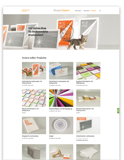 Screenshot des Wolf-Manufaktur Online-Shops