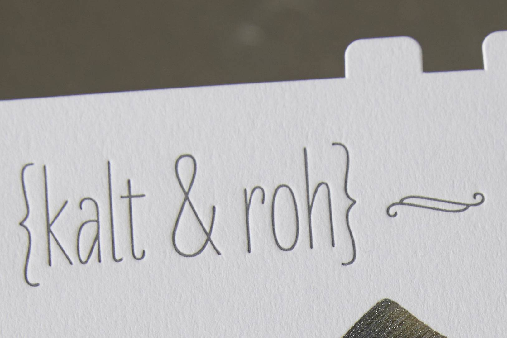 Letterpress Beispiel mit Text kalt & roh