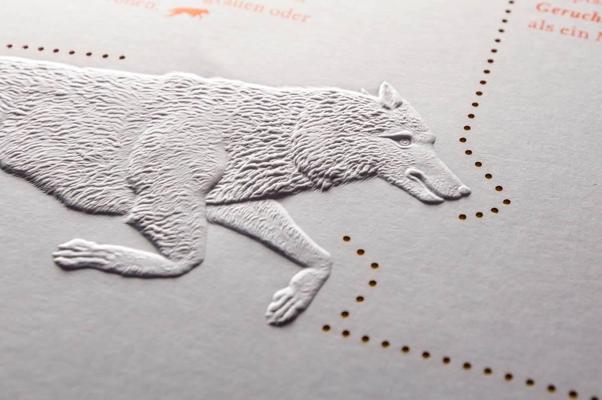 Blindprägung Reliefprägung Wolf-Manufaktur