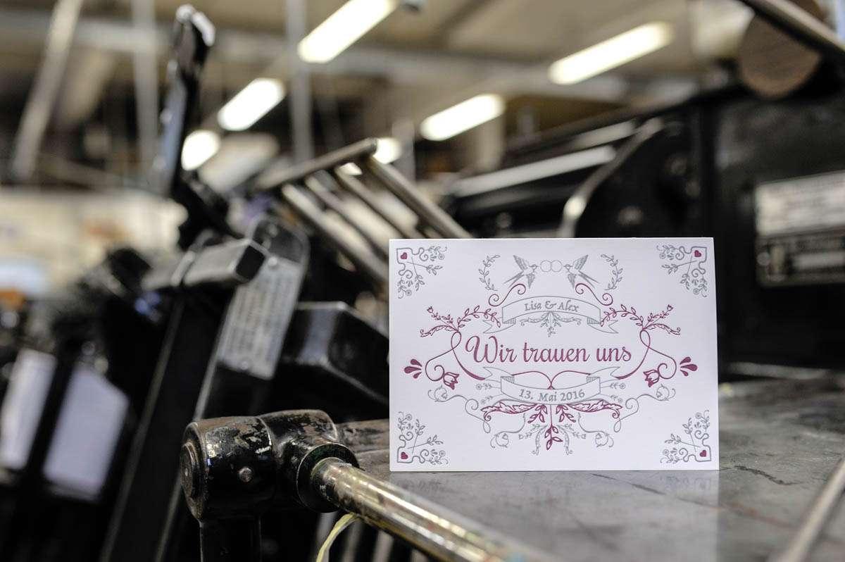 Letterpress Hochzeitskarten Wolf Manufaktur