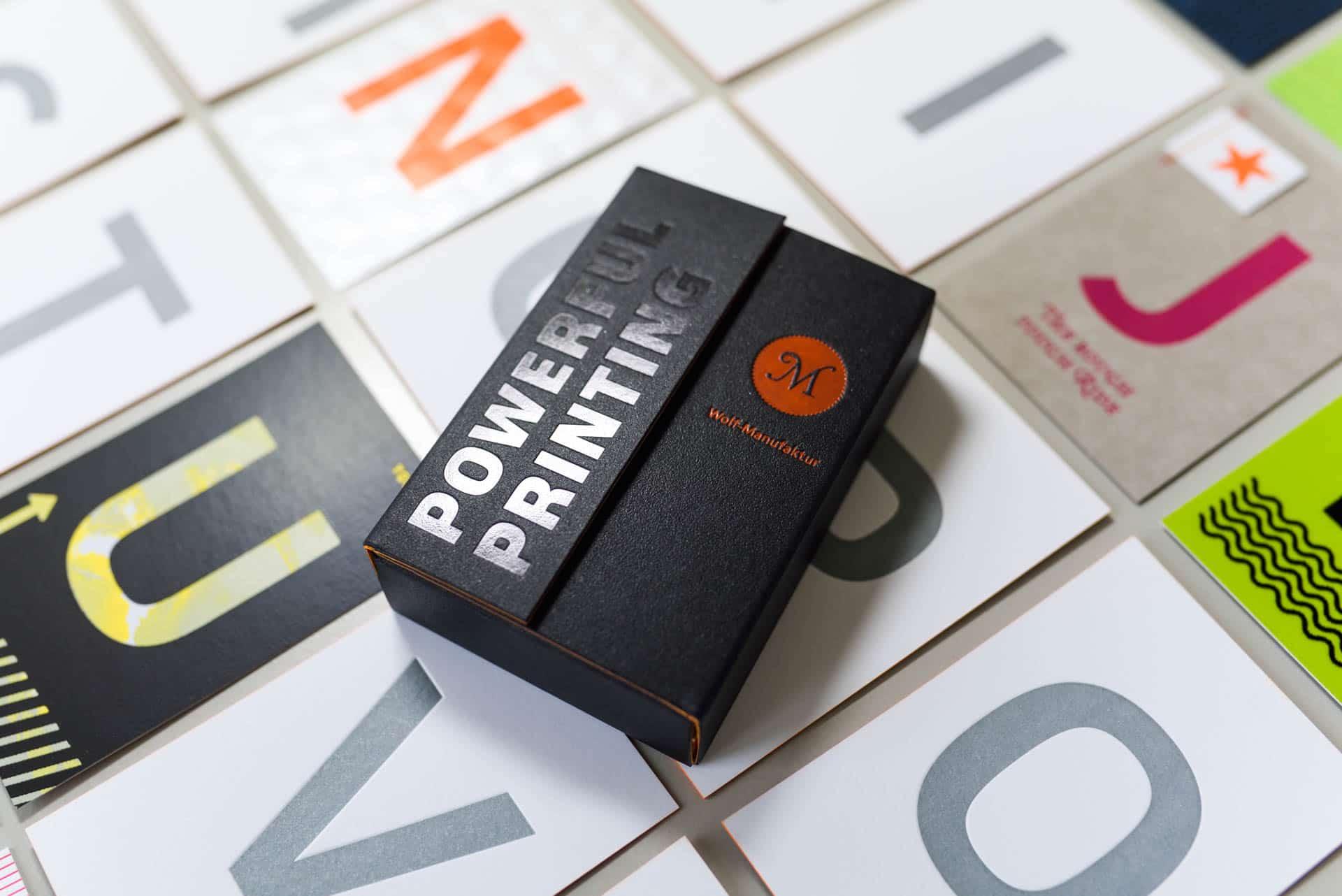 Musterkollektion '||Beyond Letterpress|| der Wolf-Manufaktur