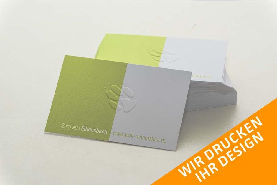 Visitenkarten Blindprägung Digitaldruck